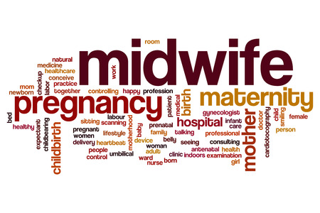 Midwife word cloud concept Stock fotó