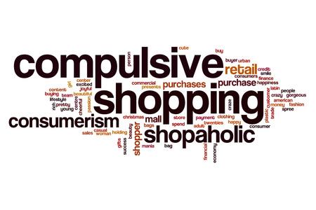 compras compulsivas: Compulsivo comercial concepto de nube de palabras