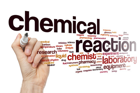 chemical reaction: Chemical reaction word cloud Stock Photo