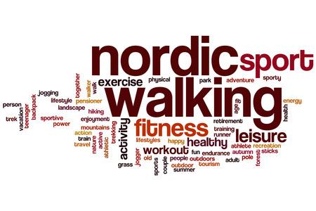 Nordic walking word cloud concept