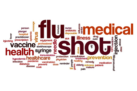 Flu shot word cloud concept Stock Photo