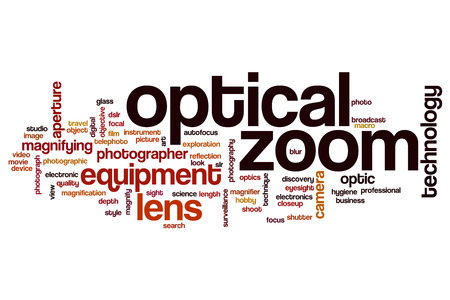 zoom: Optical zoom word cloud concept Stock Photo