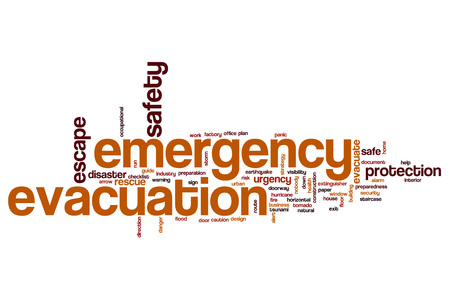 evacuacion: Emergency evacuation word cloud concept