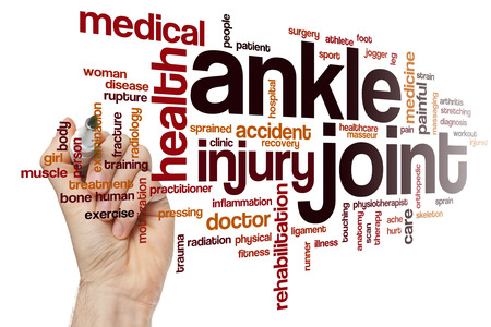 sprained joint: Ankle joint word cloud concept