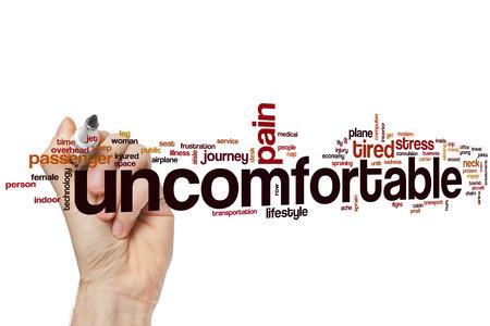 uncomfortable: Uncomfortable word cloud Stock Photo