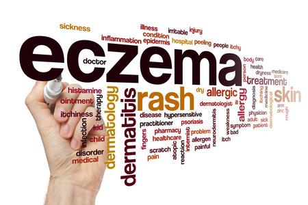 atopic: Eczema word cloud Stock Photo