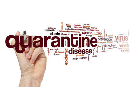 scourge: Quarantine word cloud concept Stock Photo