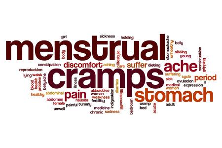 cramps: Menstrual cramps word cloud concept