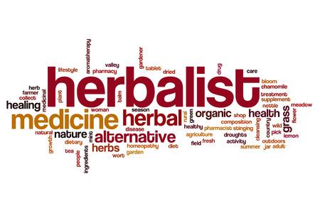 herbolaria: Herbalist word cloud concept Foto de archivo