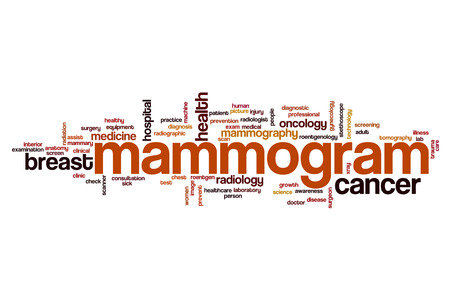 Mammogram word cloud concept Stock Photo
