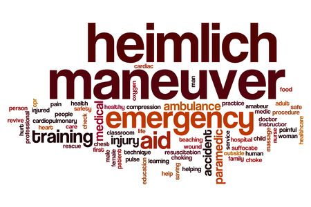 choking: Heimlich maneuver word cloud concept Stock Photo