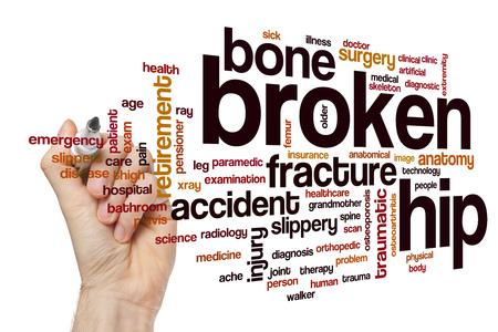 Broken hip word cloud concept Stock Photo