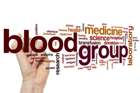 specimen testing: Blood group word cloud concept Stock Photo