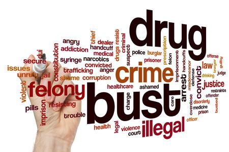 Drug bust word cloud concept