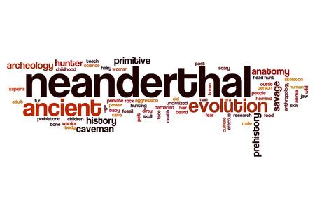neanderthal: Neanderthal word cloud concept Stock Photo