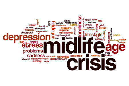midlife: Midlife crisis word cloud concept