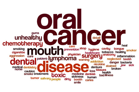 oral cancer: Oral cancer word cloud concept Stock Photo