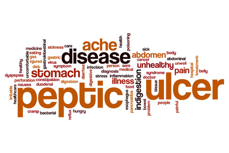 irritable bowel syndrome: Peptic ulcer word cloud concept Stock Photo