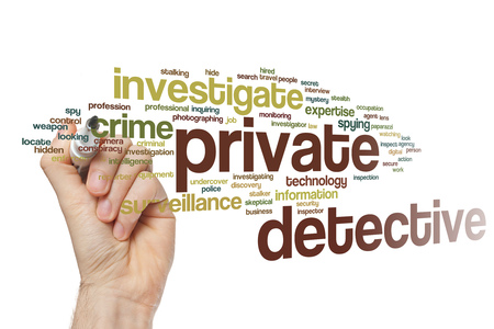 private detective: Private detective word cloud concept