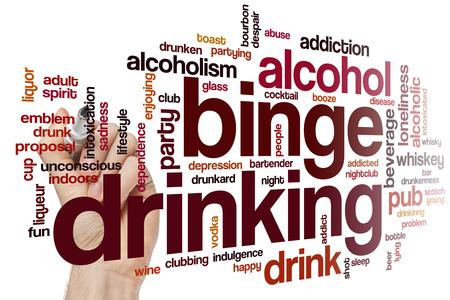 binge: Binge drinking word cloud concept Stock Photo