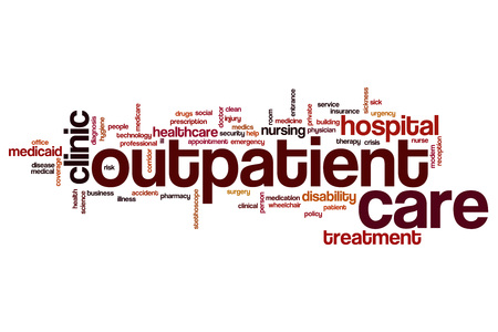 outpatient: Outpatient care word cloud concept Stock Photo