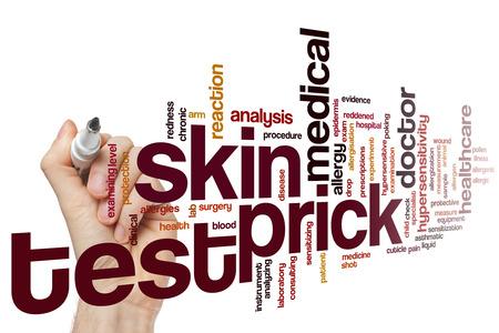 prick: Skin prick test word cloud concept