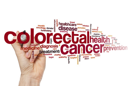 rectum cancer: Colorectal cancer word cloud concept Stock Photo