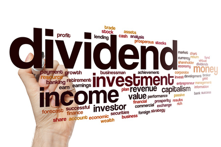 passive earnings: Dividend word cloud concept