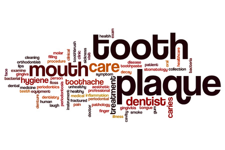 bacterial plaque: Tooth plaque word cloud concept Stock Photo