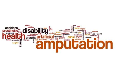 La amputación concepto de nube de palabras Foto de archivo