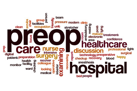 post operative: Preop word cloud concept Stock Photo