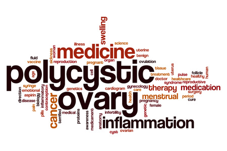 cyst: Polycystic ovary word cloud concept Stock Photo