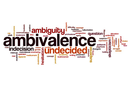 ambiguity: Ambivalence word cloud concept Stock Photo