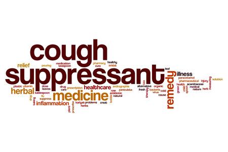 inhibit: Cough suppressant word cloud concept