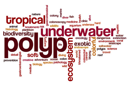 colonoscopy: Polyp word cloud concept Stock Photo