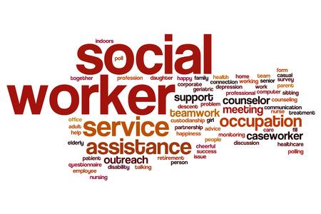 Concepto de nube de palabra de trabajador social