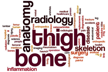 hip fracture: Thigh bone word cloud concept Stock Photo