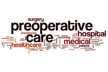 pacu: Preoperative care word cloud concept Stock Photo