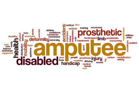 overcoming adversity: Amputee word cloud concept