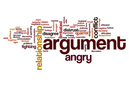argument: Argumento concepto de nube de palabras Foto de archivo