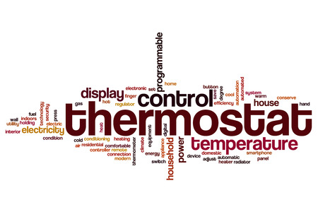 temperature controller: Thermostat word cloud concept Stock Photo