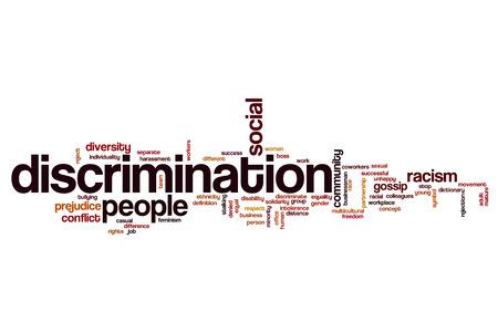 conflictos sociales: Discriminación concepto de nube de palabras