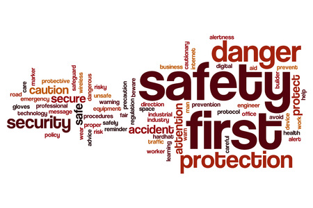 safety first: Safety first word cloud concept Stock Photo