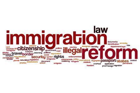 emigranti: Immigrazione riforma concetto della nube di parola Archivio Fotografico