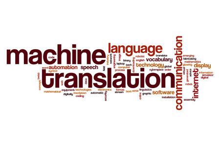 Machine vertaling woord wolk concept