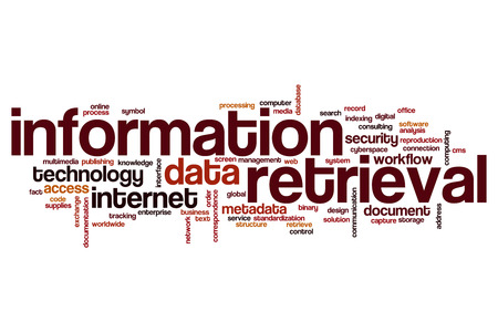 retrieval: Information retrieval word cloud concept Stock Photo