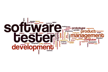 Software tester word cloud concept Stock Photo