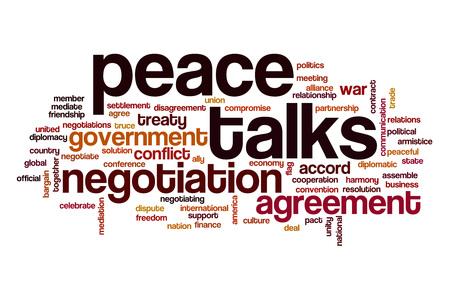 conversaciones: Peace talks word cloud concept Foto de archivo