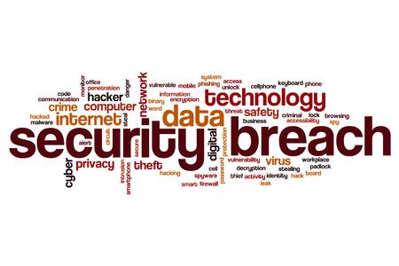 security breach: Security breach word cloud concept Stock Photo
