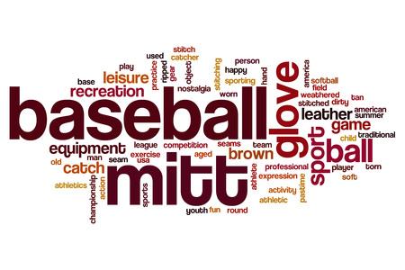 mitt: Baseball mitt word cloud concept